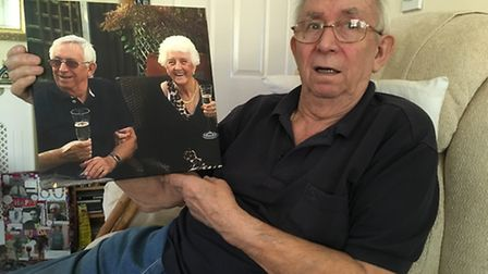 Dave Gudgeon with a picture of his late wife, Irene. Both survived the Zeebrugge ferry disaster in 1