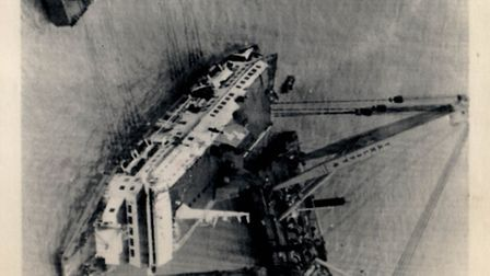 Zeebrugge Disaster: Herald of Free Enterprise capsized. Picture shows the stricken car ferry hauled