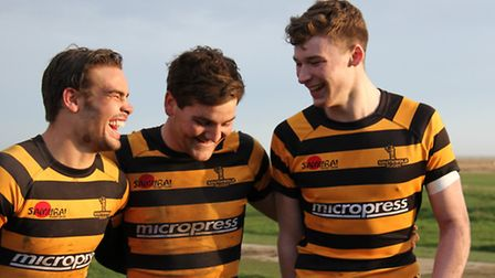 Charlie Smith (left) shares a joke with Phil Pymer (centre) and Callum Anthony. Picture: LINDA CAYLE