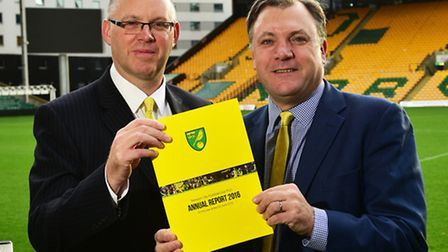 NCFC Annual Report 2016. Chairman Ed Balls and finance director Steve Stone.Picture: ANTONY KELLY