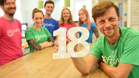 Liftshare celebrating its 18th birthday last year. Founder Ali Clabburn (centre) with staff. Pictur
