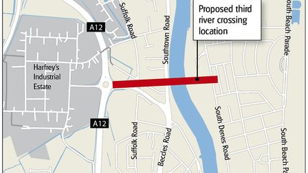 Proposed location of Yarmouth's third river crossing