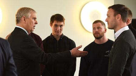 The Duke of York visited the King's Lynn Innovation Centre, pictured here talking to Jason Todd. Pic