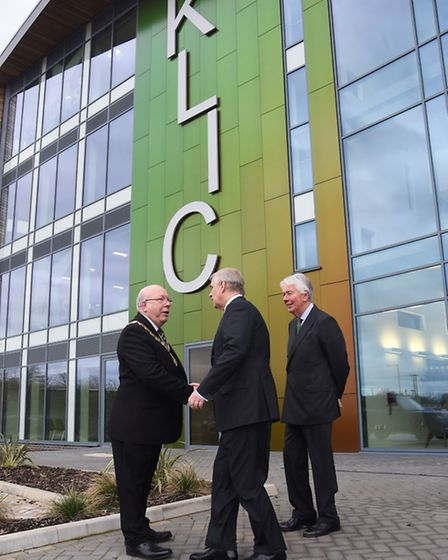 The Duke of York leaving the King's Lynn Innovation Centre, shaking hands with Borough Mayor David W