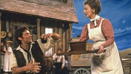 High Jackman and Maureen Lipman in Trevor Nunn's production of Oklahoma at the National Theatre in 1