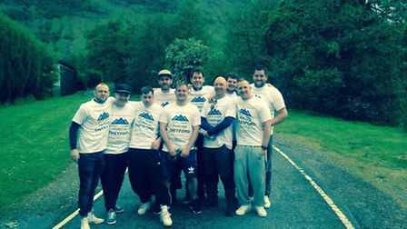 Members of the Thetford 93 before they started their Three Peaks charity Challenge. A charity gig wi