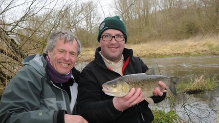 John Bailey and friend David Brown with a cracking chub - the new pin does its work. Picture: John B