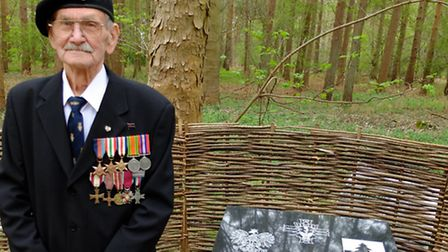 Alfred Zelke at the Polish Memorial in Riddlesworth. The photograph was taken at the memorial ceremo