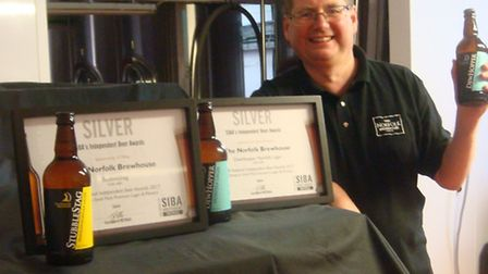 David Holliday shows off his award winning lagers, Picture: Norfolk Brewhouse
