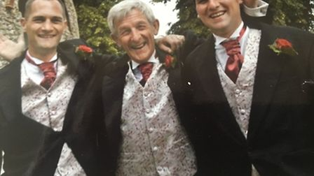 From left to right: Steve, dad Jim and Mike at Mike's wedding. Picture: Steve Rice