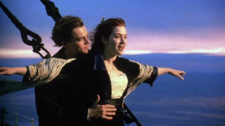 """- Actress Kate Winslet shown in a scene from """"Titanic"""" with actor Leonard DiCaprio. Yearend Pictures"""