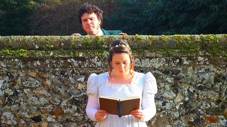 Edward Ferrow as Darcy and Alex Rivers as Lizzy in the Pantaloons theatre company's comic adaptation