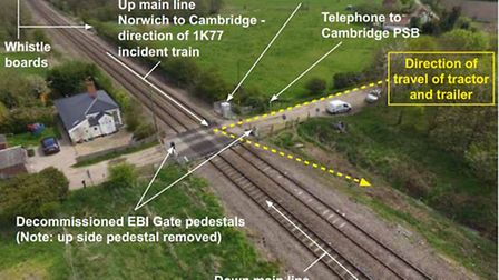 The Hockham Road level crossing in Roudham, near Thetford, where the crash happened between a train