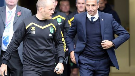Ex-Norwich City manager Alex Neil with the Canaries' only ever 'foreign' boss, Brighton's Chris Hugh