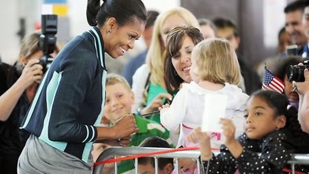 The First Lady Michelle Obama visit RAF Mildenhall, meeting troops and families based there. Picture