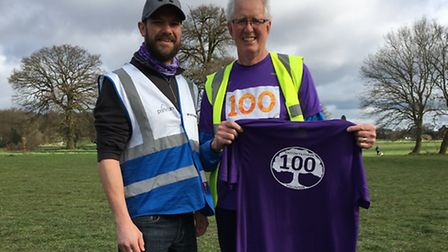 David Parker (right), who has volunteered for Catton Park Run 100 times. He stands next to Dan Goodw