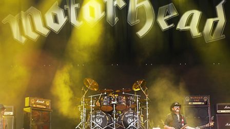 Lemmy Kilmister of Motorhead performing on the Pyramid Stage at the Glastonbury Festival, at Worthy