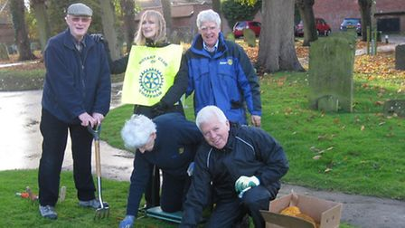 Members of Swaffham Rotary Club who planted 10,000 crocus plants in the town