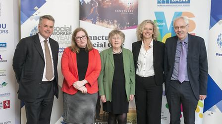 Prof June Thoburn (centre) at the House of Commons with (from left) Social Worker of the Year Awards