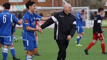 Lowestoft defender Harry Barker and manager Ady Gallagher at the end of the match at Worthing. Pictu