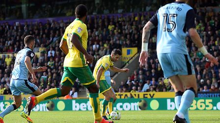 Wes Hoolahan scores his goal against Rotherham which has been nominated for the Mitre Goal of the Ye