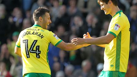 Wes Hoolahan of Norwich celebrates scoring his side's first goal with Timm Klose during the Sky Bet