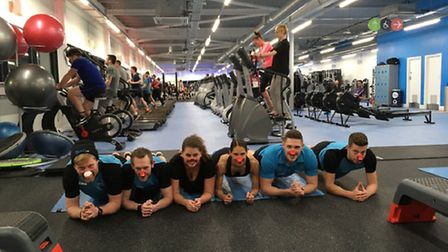 Staff at The Gym on Hall Road in Norwich preparing for Red Nose Day. Picture: The Gym Norwich