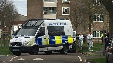 A police van on Valpy Avenue, Norwich, where officers were called to reports of a disturbance. Pictu