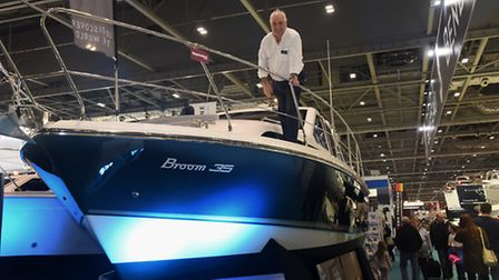 The 2017 London Boat Show. Paul Pardon, sales executive at Broom Boats on a Broom 35 Coupe. Picture: