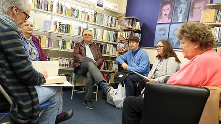 Members of the Cromer Audio Book Club discussing their latest book at Cromer Library. Picture: Andy