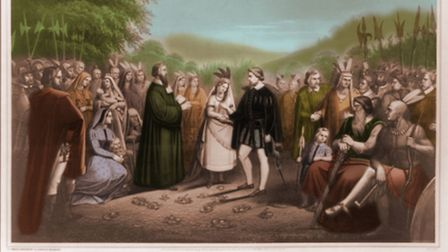 A fanciful 1867 image of the wedding of Pocahontas and John Rolfe, by lithographer George Spohni.