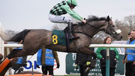 Hint of Grey in the Robert Case Memorial Conditional Jockey's Maiden Hurdle Race and went on to win