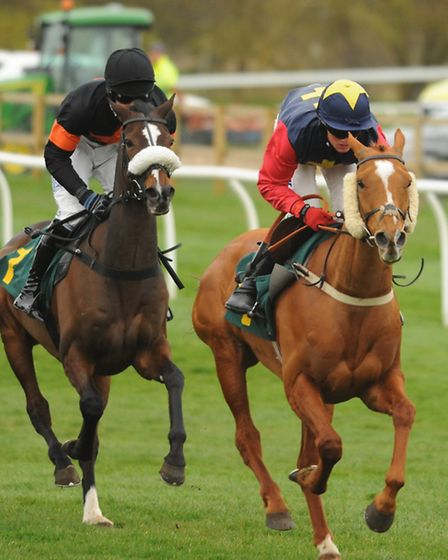 The start of the Easter Monday Racing Novices' Handicap Steeple Chase, with winner Master Jake, left