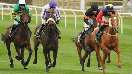 The start of the Easter Monday Racing Novices' Handicap Steeple Chase, with winner Master Jake, 2nd