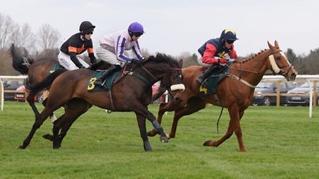 Little Windmill, right, Cabragh, centre, and Master Jake in the Easter Monday Racing Novices' Handic