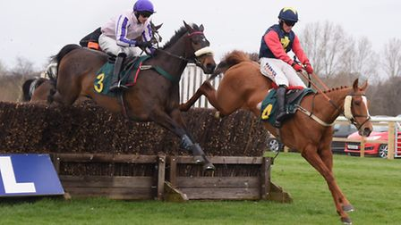 Little Windmill, right, and Cabragh in the Easter Monday Racing Novices' Handicap Steeple Chase at t