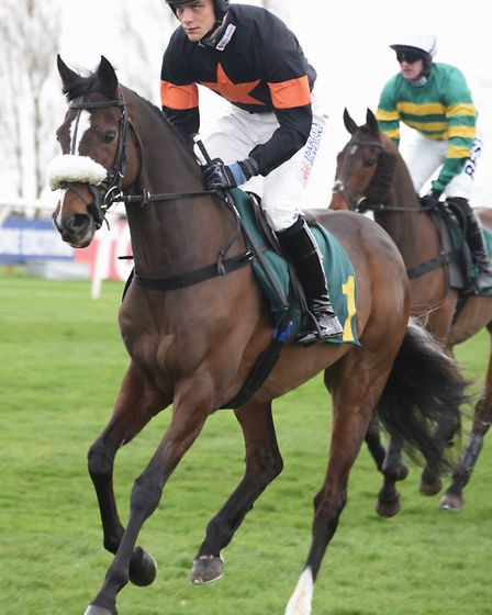 Master Jake (winner) heads for the start of the Easter Monday Racing Novices' Handicap Steeple Chase
