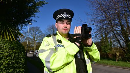 PC Edward Frazer carries out speed safety checks along the Oulton Broad diversionary route.PHOTO: