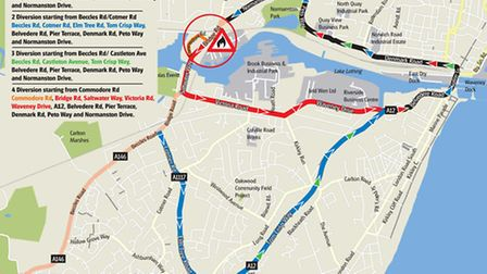 The diversions in place during work on the gas mains in Oulton Broad. Graphic: Archant.