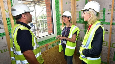 A look around Norwich's 'greenest' council houses under construction at Hansard Close. Left to right