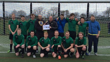 Dynamo FC receiving the Macron-sponsored Sporting Award, presented by Ben Casey. Picture: Steve Brow