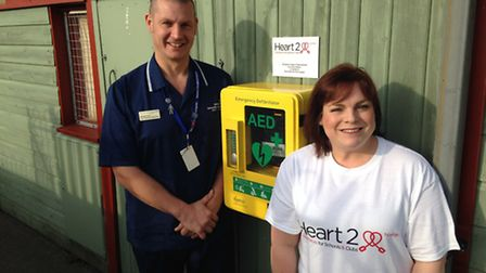 """Defibrillator installed at the Gorleston Lawn Bowling Green near the clifftop. Michael """"Micky"""" Cox,"""
