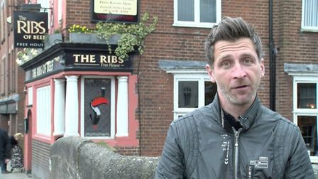 Darren Edie outside The Ribs of Beef. Photo from Mustard TV