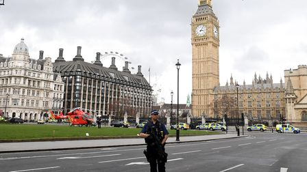 Police outside the Palace of Westminster. Photo: Victoria Jones/PA Wire