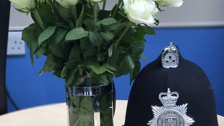 Flowers given to Norfolk police in memory of fallen colleague Pc Keith Palmer. PIC: Norfolk Police.