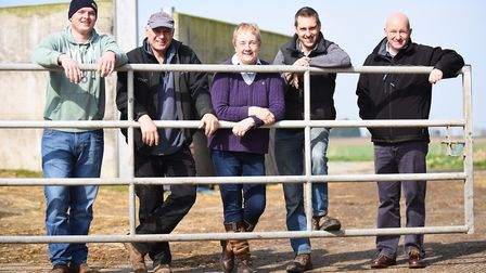 Former dairy farmer Ava Barrell (centre) pictured with, from left, Ben Wilkins, Graham Shadrack, her