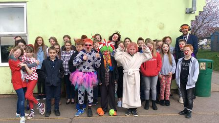 Reception and Year 6 pupils all 'dressed up in something to make someone laugh' for Comic Relief at