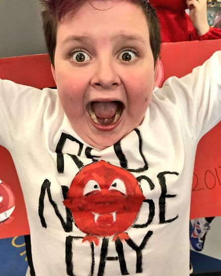 Kernius getting into the spirit of Red Nose Day at Howard Junior School in King's Lynn.
