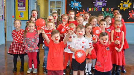 Pupils celebrate Red Nose Day at Eastgate Academy in King's Lynn.