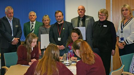 Pupils from Litcham School with councillors during the Breckland Council take over day. Picture: Bre